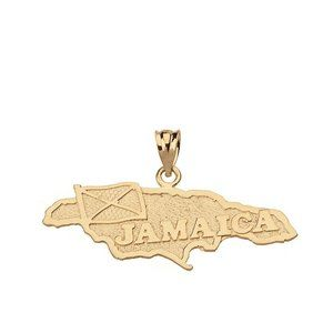 10k Solid Gold Jamaica Map Flag Pendant